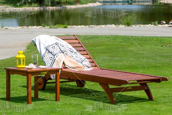 Lettino prendisole in legno con schienale regolabile - 5